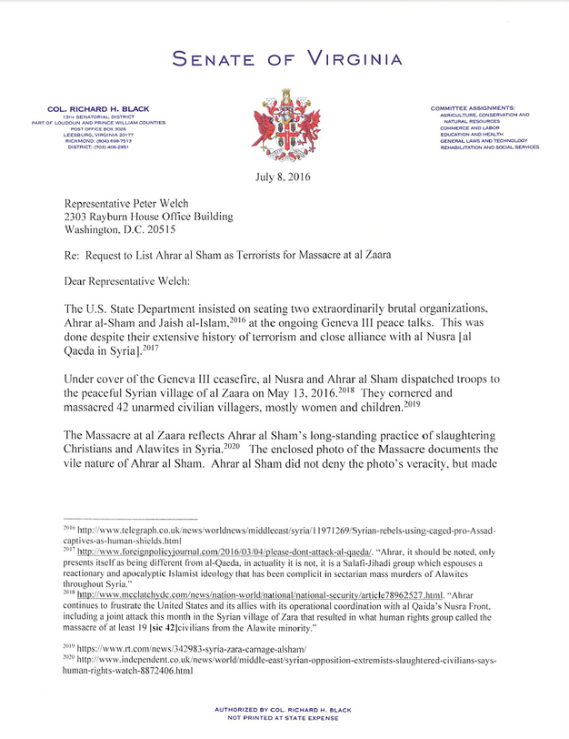 Virginia Senator Letter to U.S. Senate & House Citing Massacre in Syria