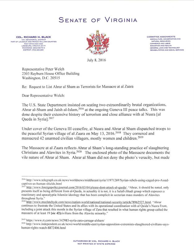 Virginia Senator Letter to U.S. Senate & House Citing Massacre in